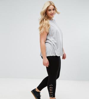 New Look Plus Леггинсы со шнуровкой сбоку Curve. Цвет: черный
