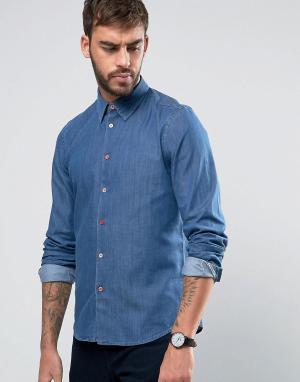 PS by Paul Smith Джинсовая узкая выбеленная рубашка. Цвет: синий