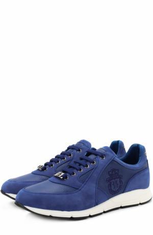 Кожаные кроссовки на шнуровке с замшевой отделкой Billionaire. Цвет: синий