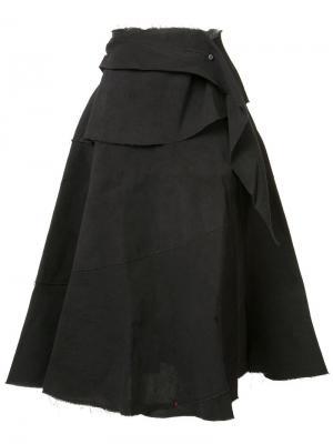 Юбка А-образного силуэта с драпировкой Ma+. Цвет: чёрный