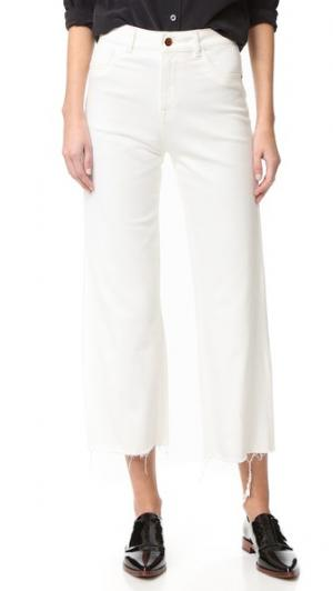 Широкие джинсы Hepburn с высокой посадкой DL1961. Цвет: цвет яичной скорлупы