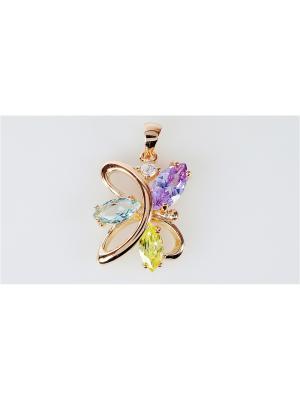Кулон фианит mix загадочный цветок Lotus Jewelry. Цвет: голубой, желтый, индиго