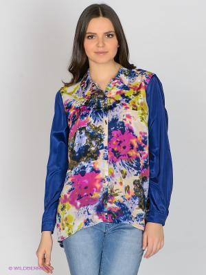 Блузка JUNAROSE. Цвет: темно-синий, фуксия