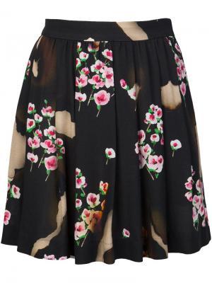 Плиссированная юбка с цветочным принтом Moschino. Цвет: чёрный
