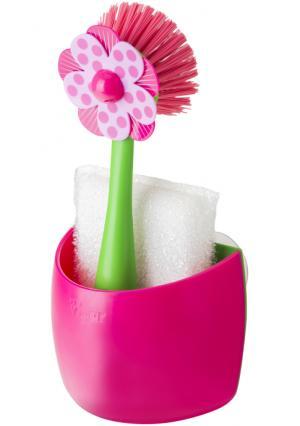 Щетка и губка для мытья посуды на подставке LOLAFLOR VIGAR. Цвет: белый (белый, зеленый, розовый), белый (белый, зеленый, синий), белый (белый, черный)