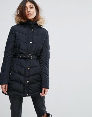 Urban Bliss Стеганое пальто с поясом. Цвет: черный