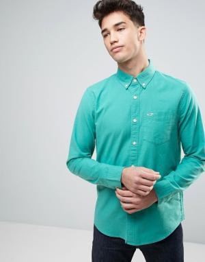 Hollister Оксфордская узкая рубашка из зеленой эластичной ткани на пуговицах Hol. Цвет: зеленый
