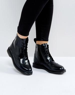Dr Martens Черные ботильоны-броги со шнуровкой. Цвет: черный