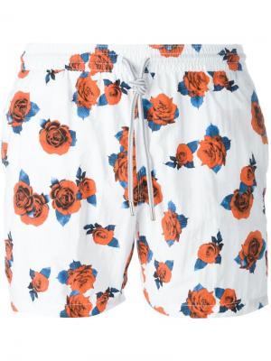 Плавательные шорты с принтом роз Capricode. Цвет: белый