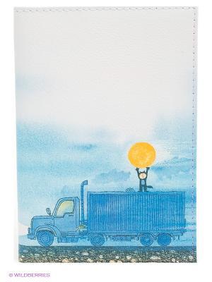 Обложка для автодокументов Мальчик, Луна и грузовик Mitya Veselkov. Цвет: белый, голубой