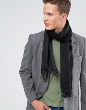 Glen Lossie Черный кашемировый шарф. Цвет: черный