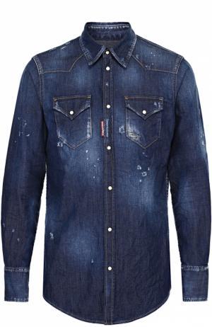 Джинсовая рубашка с декоративными потертостями Dsquared2. Цвет: синий
