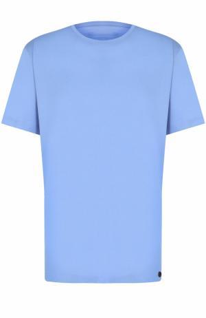 Хлопковая футболка с круглым вырезом Hanro. Цвет: синий
