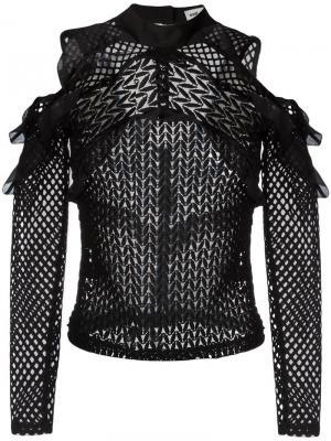 Блузка с открытыми плечами и оборками Self-Portrait. Цвет: чёрный