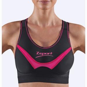 Бюстгальтер спортивный Soft Touch ZSPORT. Цвет: черный/ розовый