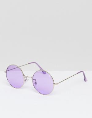 Jeepers Peepers Большие круглые солнцезащитные очки с сиреневыми стеклами Peep. Цвет: фиолетовый