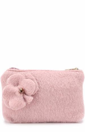 Клатч из шерсти с цветочной аппликацией I Pinco Pallino. Цвет: розовый