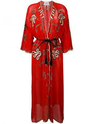 Прозрачное пальто-халат с вышивкой Jucca. Цвет: красный