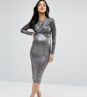 ASOS Maternity Облегающее платье для беременных с перекрученным дизайном и длинными р. Цвет: серебряный