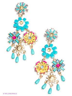 Серьги Milana Style. Цвет: золотистый, бирюзовый