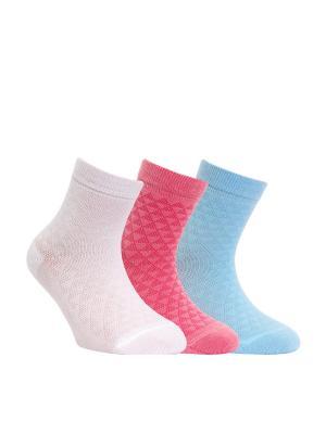 Носки CLASS 13С-9СП комплект 3 пары Conte Kids. Цвет: белый, голубой, розовый