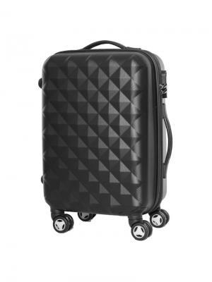 Чемодан пластиковый малый, черный, 50 л, 36х26х56, PROFFI + полотенце в подарок. Цвет: черный