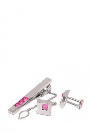 Комплект зажим для галстука и запонки Greg. Цвет: розовый