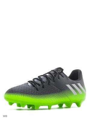 Бутсы  (мяг.покр.) муж. MESSI 16.2 FG DKGREY/SILVMT/SGREEN Adidas. Цвет: черный, зеленый