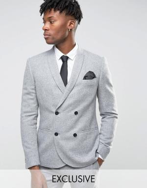 Noak Зауженный фланелевый пиджак. Цвет: серый