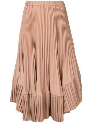 Плиссированная юбка Cityshop. Цвет: коричневый