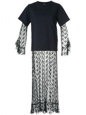 Длинное платье с многослойным эффектом Goen.J. Цвет: синий
