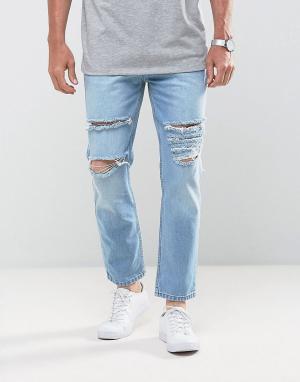 Mennace Узкие рваные джинсы укороченного кроя. Цвет: синий
