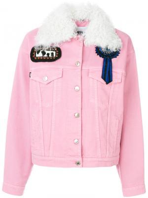 Джинсовая куртка с нашивками MSGM. Цвет: розовый и фиолетовый