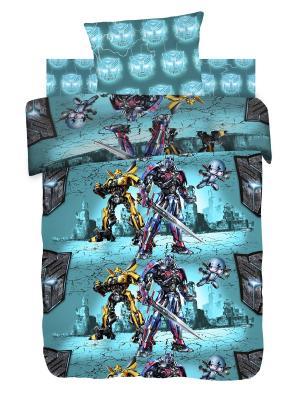 Комплект постельного белья 1,5 бязь Защитники Transformers. Цвет: бирюзовый