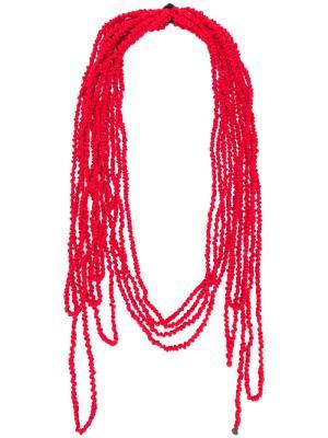 Многослойный шарф Maria Calderara. Цвет: красный