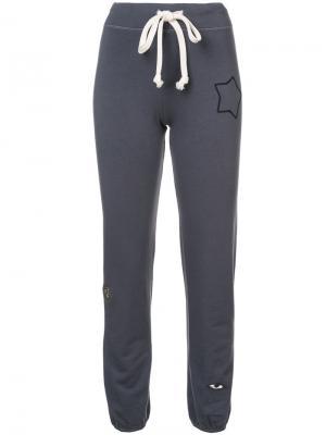 Star embroidered track pants Sandrine Rose. Цвет: серый