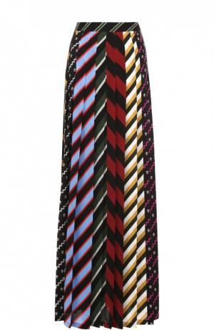 Шелковая юбка-макси в контрастную полоску Mary Katrantzou. Цвет: разноцветный