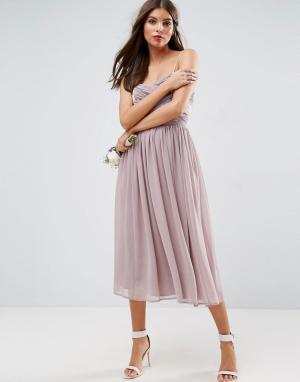 ASOS Платье миди в стиле колор блок со сборками WEDDING. Цвет: фиолетовый
