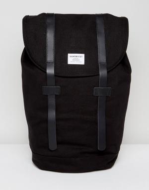 Sandqvist Рюкзак из органического хлопка с кожаными ремешками Stig. Цвет: черный