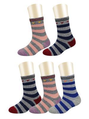 Носки, 5 пар Glamuriki. Цвет: черный, коралловый, синий
