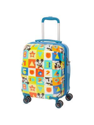 Детский чемодан, 4 колеса, серия Disney Mikky, 28 л, с телескопической ручкой Sun Voyage. Цвет: серо-голубой, серо-зеленый, светло-желтый, красный