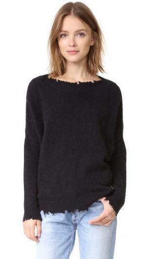 Вязаный пуловер с эффектом поношенности Otto d'ame. Цвет: голубой