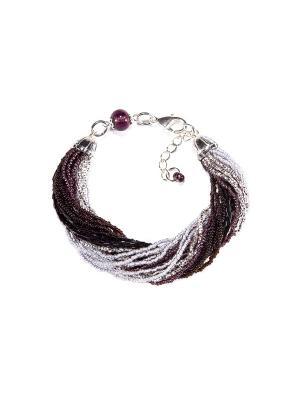 Браслет бисерный, 24 нитей, цвет 15 Bottega Murano. Цвет: черный, серебристый, фиолетовый