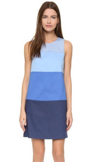 Комбинированное платье-трапеция Lisa Perry. Цвет: синий мульти