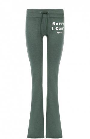 Расклешенные брюки с эластичным поясом Wildfox. Цвет: зеленый