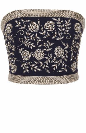 Топ-бюстье с контрастной цветочной вышивкой Alice + Olivia. Цвет: синий