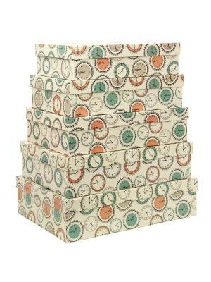Коробка картонная,набор из 5 шт. 32х20х8 - 40х28х10 см.Часы. VELD-CO. Цвет: серо-зеленый, светло-коричневый, темно-бежевый