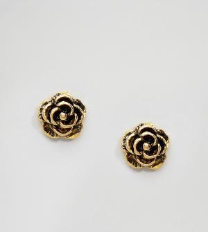 Kingsley Ryan Позолоченные серьги-гвоздики в виде розочек. Цвет: золотой