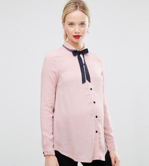 ASOS Maternity Блузка для беременных с завязкой у горловины и вышивкой на воротнике A. Цвет: розовый