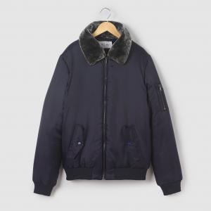 Куртка авиатор с воротником из искусственного меха, 10-16 лет R pop. Цвет: синий морской